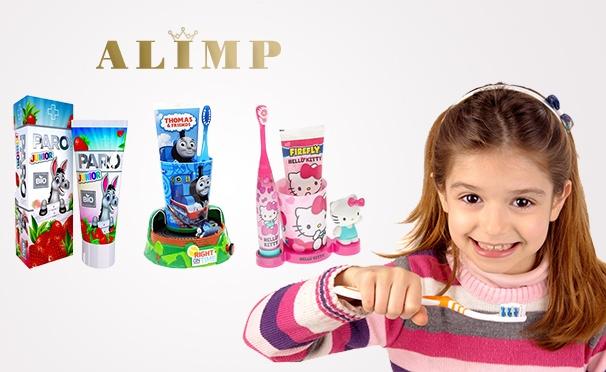 Скидка на Детские наборы для чистки зубов от интернет-магазина красоты и здоровья Alimp: зубная паста, щетка, игрушка-таймер. Скидка до 43%